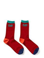 Bamboo Socks Block - Multi tango Red