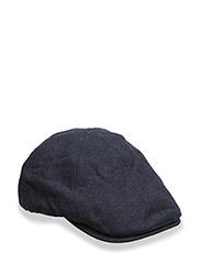 BOILED WOOL FLAT CAP - 608 NAVY