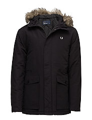 QUILTED FUR TRIM PARKA - 102 BLACK