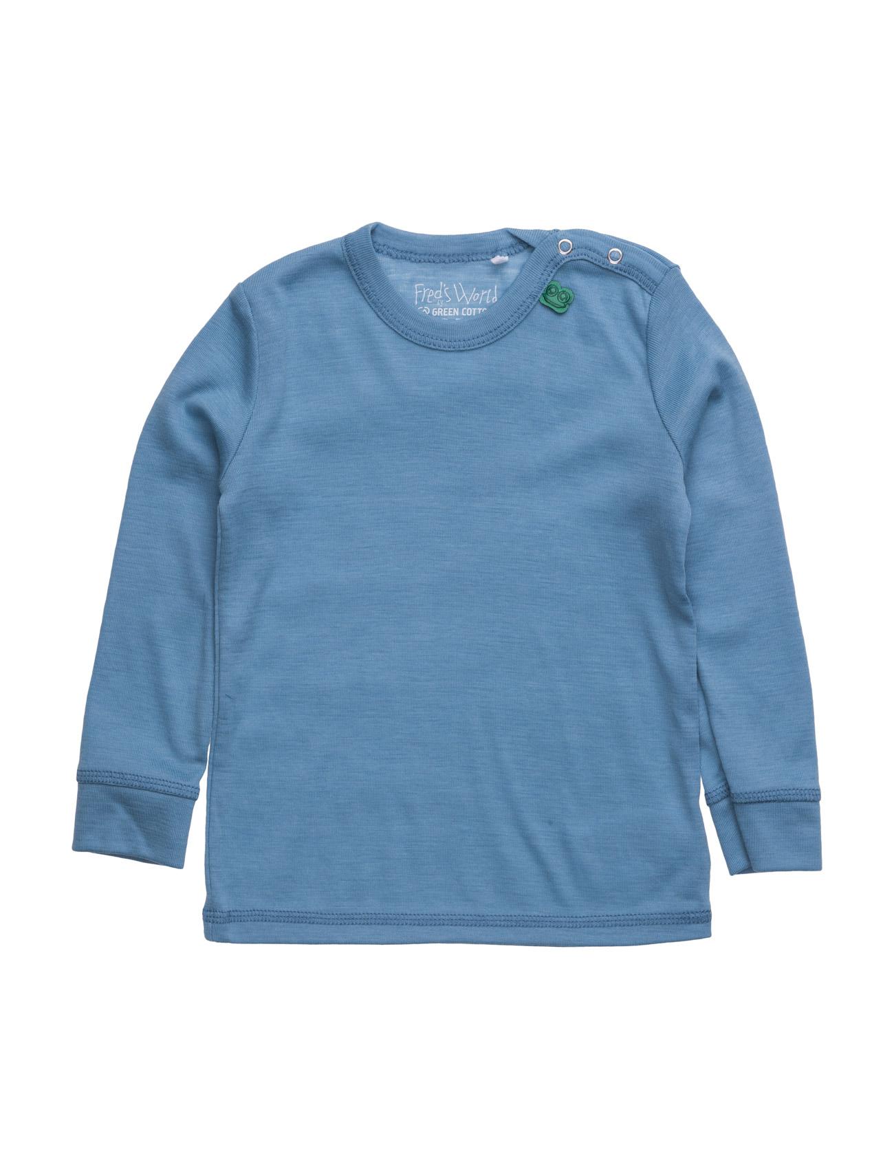 Wool L/Sl T Baby Freds World Langærmede t-shirts til Børn i Blå