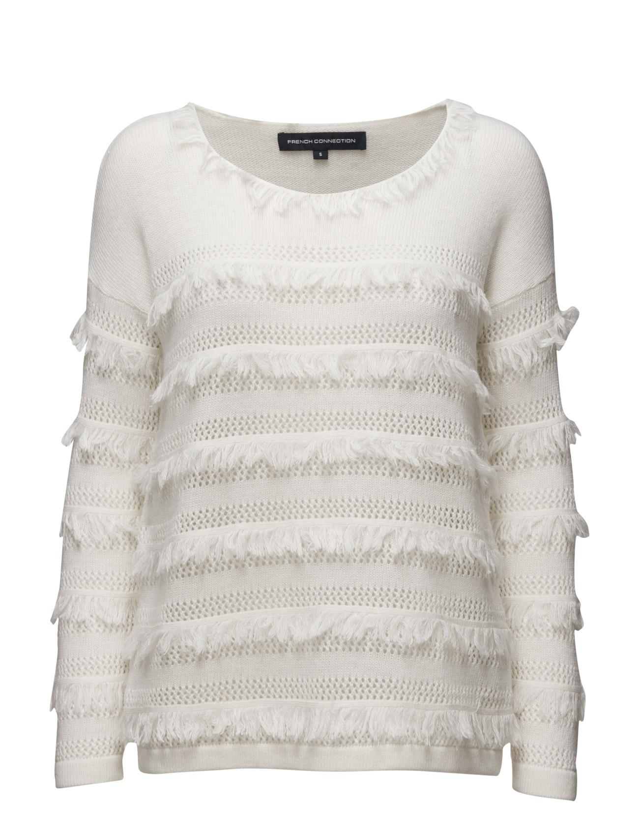 Pointelle Fringing Ls Rdnk Jmp French Connection Sweatshirts til Damer i Winter White