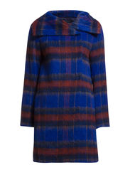 KAZAN CHECK HIGH NECK COAT - BLUE MULTI