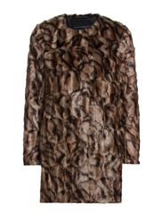 TABBY FUR COLLARLESS COAT - MULTI