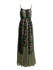 DESERT TROPICANA CHIFFON MAXI DRESS - BLACK MULTI