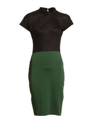 FAST AGEATHA TWIST DRESS - BLACK/WINTER FERN