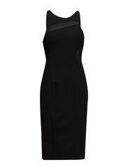 CORA STRETCH EMB S/LESS DRESS - BLACK