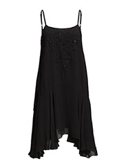 LAS SALINAS STRPY FLR DRESS - BLACK