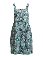 SEA FERN COTTON FLARED DRESS - WEST LAKE MULTI