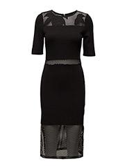 FLORAL CAGE SS RDNK DRESS - BLACK