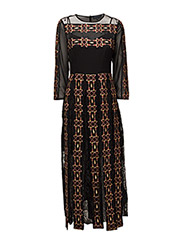 PRILA DRAPE LS RDNK MAXI DRESS - BLACK MULTI