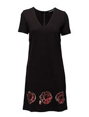 CAMILLA GLOSS SS TUNIC DRESS - BLACK/RED SKY