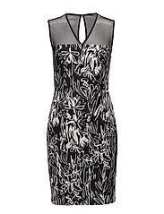 COPLEY COTTON S/LSS VNK DRESS - BLACK/SUMMER WHITE