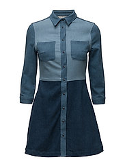 EDIE DENIM SHIRT DRESS - BLUE MULTI