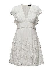 HESSE BRODERIE S/LS VNK DRESS - SUMMER WHITE