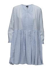 NURU SCHIFFLEY L/S DRESS - SALT WATER/SMMRWHT