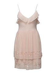 ADANNA PLEAT LACE JERSEY DRESS - PINK OPAL