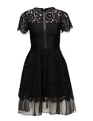 SHANA SPOTLIGHT FLARED LACE DRESS - BLACK