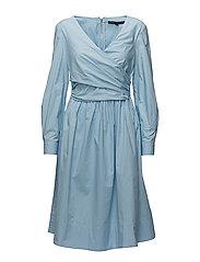 EASTSIDE COTTON V-NECK FLARED DRESS - DREAM BLUE