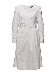 EASTSIDE COTTON V-NECK FLARED DRESS - LINEN WHITE