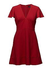 WHISPER RUTH SHORT SLEEVE V-NECK FLARED DRESS - BLAZER RED