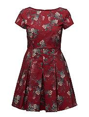 KIOA COTTON CAPPED SLEEVE FLARED DRESS - BLAZER RED MULTI