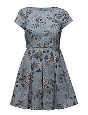 KIOA COTTON CAPPED SLEEVE FLARED DRESS - PAVILION BLUE MULTI