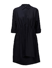 ELLESMERE DRAPE LONG SLEEVE FLARED DRESS - NOCTURNAL