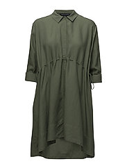 ELLESMERE DRAPE LONG SLEEVE FLARED DRESS - SHADY MEADOW