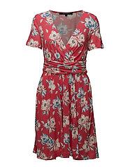 CARI MEADOW JRSY WRAP DRESS - AZALEA MULTI
