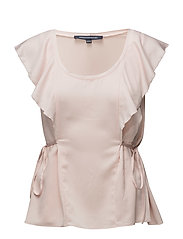 NIA DRAPE FLUTED FRONT TOP - PINK OPAL
