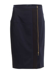 EDDIE STRETCH PENCIL SKIRT - BLACK/UTILITYBLUE