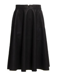 FT PU FLARED SKIRT - BLACK