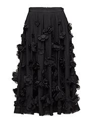 AGNES FLROAL MAXI SKIRT - BLACK