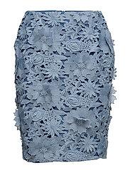 MANZONI 3D FLORAL LACE PENCIL SKIRT - MERU BLUE