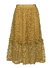 CABALLO LACE FLARED SKIRT - MUSTARD SEED