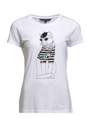 PARISIAN KITTY RDNK TEE - WHITE/BLACK