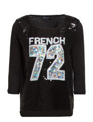 FAST SOCCER SEQUINS TEE - BLACK/WHITE