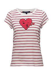 HEART CREW NECK TSHIRT - SUM WHITE/BLZR RED