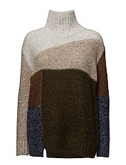 ANNA PATCHWORK KNITTED JUMPER - DUSTY OLIVE MULTI