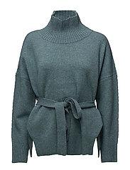 Reba Knits Long Sleeved High Neck Jumper - ARONA BLUE MEL