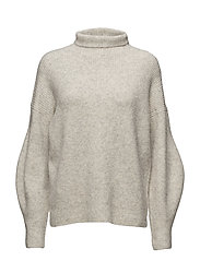 URBAN FLOSSY HGH NK JUMPER - LIGHT OATMEAL MEL