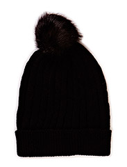 FUR AND KNIT TILLY HAT - BLACK