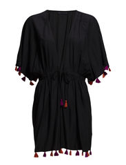 POM POM OPEN KAFTAN - BLACK/COLOUR TASSELS