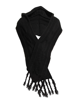 Dana Hooded Knit scarf - Black
