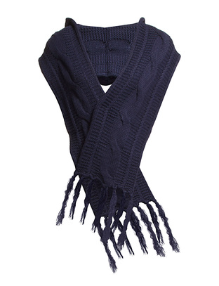 Dana Hooded Knit scarf - Navy
