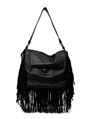 Cheering Leather Handbag - Black