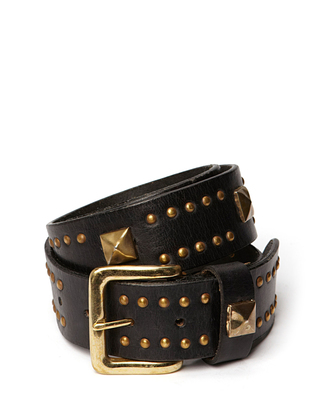 Flame Leather Belt - Black