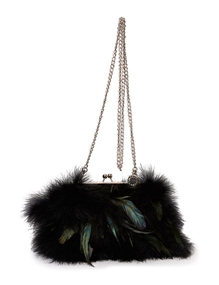 Piomazzo Feather Clutch - Black