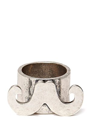 Ater Mustache Ring - Antique Silver