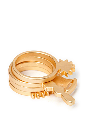 Friis & Company Athy Ring Set - Brushed Gold